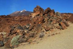 Ténérife, vue du nègre de Tabonal pour monter Teide photo libre de droits