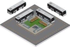 Término de autobuses isométrico Fotos de archivo libres de regalías