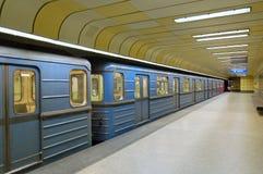 Término de vía férrea en construcción del metro Fotos de archivo