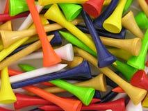 Tés de golf colorés Photos stock