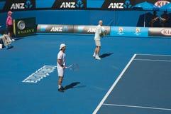 Tênis aberto do Australian, dobros fotos de stock royalty free