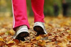 Tênis de corrida dos pés do corredor. Mulher que movimenta-se no parque do outono Fotos de Stock Royalty Free