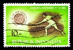 Tênis, jogos do serie novo das forças emergentes, cerca de 1963 Imagem de Stock