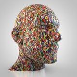 Tête abstraite fabriquée à partir de des cubes Image libre de droits