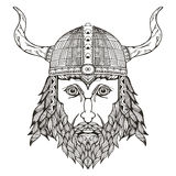 Tête antique de Viking Casque avec des klaxons Zentangle a stylisé Photos libres de droits