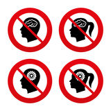 Tête avec l'icône de cerveau Mâle et humain féminin Images stock