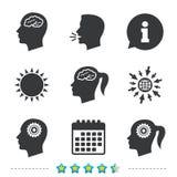 Tête avec l'icône de cerveau Mâle et symboles humains femelles Images libres de droits