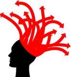 Tête avec les flèches rouges Images libres de droits