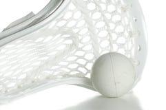 Tête blanche de Lacrosse avec la bille Images stock