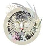 Tête blanche de lion en cercle Image libre de droits