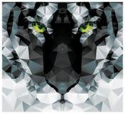 Tête blanche de tigre de polygone géométrique, conception de modèle de triangle Images libres de droits