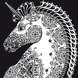 Tête, bleack et blanc stylisés de licorne de profil Photos stock
