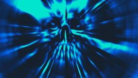 Tête bleue de démon avec un visage déchiré Illustration dans le genre de l'horreur Photo stock