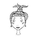 Tête blonde mignonne de fille avec la queue de cheval Rougissement de sourire de jeune femelle Illustration de vecteur de croquis illustration libre de droits