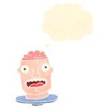tête brute de rétro bande dessinée avec le cerveau exposé Photo libre de droits