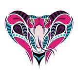 Tête colorée modelée du Roi Cobra Conception africaine et indienne de tatouage Il peut être employé pour la conception d'un T-shi illustration de vecteur