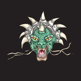 Tête décorative de dragon avec la copie de klaxons illustration libre de droits