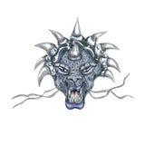 Tête décorative de dragon avec la copie de klaxons illustration de vecteur