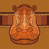 Tête d'hippopotame avec l'ornement ethnique Photo stock