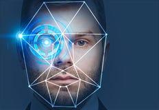 Tête d'homme avec l'interface de reconnaissance des visages illustration de vecteur