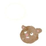 tête d'ours de nounours de bande dessinée avec la bulle de pensée Photo libre de droits