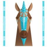 Tête d'un cheval avec un klaxon de licorne Photo libre de droits