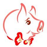 Tête d'un porc gai avec un noeud papillon illustration libre de droits