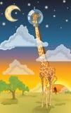 Tête dans la girafe de nuages illustration de vecteur