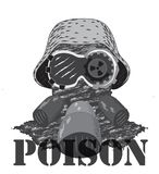 Tête dans le casque Sans fond L'inscription du poison illustration stock