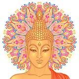 Tête de Bouddha au-dessus de modèle rond de mandala fleuri Illustrati de vecteur illustration stock