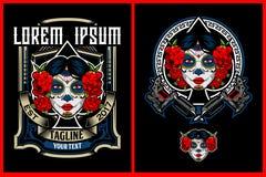 Tête de Calavera Catrina ou crâne impressionnante de sucrerie avec le vecteur de machine de tatouage illustration libre de droits