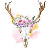 Tête de cerfs communs d'aquarelle avec des wildflowers Image stock