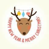Tête de cerfs communs de bonne année Images libres de droits