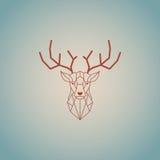 Tête de cerfs communs et conception polygonale de klaxons Vecteur de couleur de Brown avec le fond de turquaze Photos libres de droits