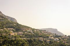 Tête de Chien, Dog`s Head, near La Turbie and Principality of Monaco. Cote d`Azur French Riviera is situated in the southern eastern part of the mediterranean royalty free stock photo