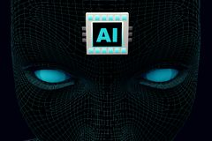 Tête de concept avec la puce AI sur le front illustration de vecteur