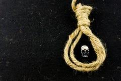 Tête de crâne et corde miniatures de noeud coulant Image stock