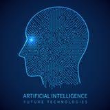 Tête de cyborg avec la carte à l'intérieur Intelligence artificielle de concept humain numérique de vecteur illustration libre de droits