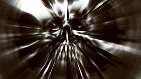 Tête de démon avec un visage déchiré Illustration dans le genre de l'horreur Photo stock
