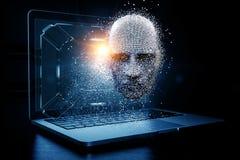 Tête de Digital, concept d'intelligence artificielle illustration libre de droits