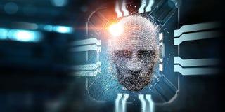 Tête de Digital, concept d'intelligence artificielle illustration stock