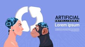 Tête de femelle et de singe avec le concept moderne d'intelligence artificielle de Brain Over Updating Sign Aroows de cyborg Image libre de droits