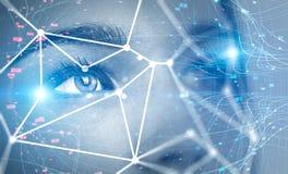 Tête de femme et technologie de reconnaissance des visages photo libre de droits