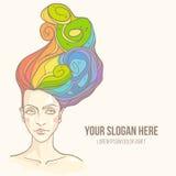 Tête de femmes avec des cheveux d'arc-en-ciel Illustration Stock