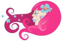Tête de filles avec le cheveu stylisé Photographie stock libre de droits
