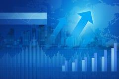 Tête de flèche avec le diagramme et les graphiques financiers sur la ville ; succès concentré Image stock
