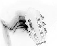 Tête de guitare avec de la fumée noire Photos libres de droits