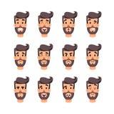 Tête de l'homme s avec différentes émotions Le mâle de bande dessinée fait face au jeu de caractères Émotions faciales pour le je Photos libres de droits