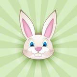 Tête de lapin de bande dessinée sur le vert Images libres de droits