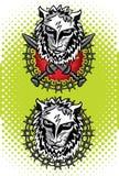 Tête de lion avec l'illustration d'emblème d'épées Image stock
